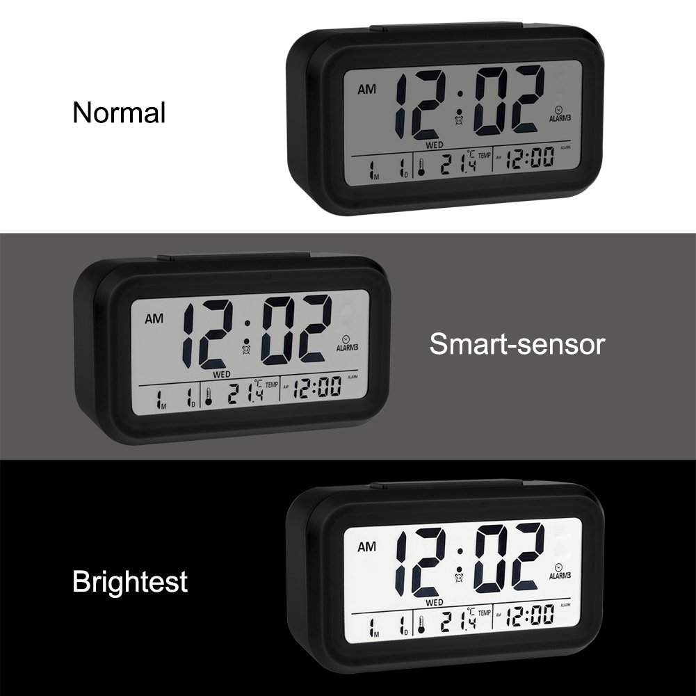 """EWTTO Digital Alarm Clock 4.6/"""" Large LCD Display Desk Clock Battery Operated with 3 Alarms //5 Music Sounds//Temperature//Snooze for Kids Bedroom Travel Office"""