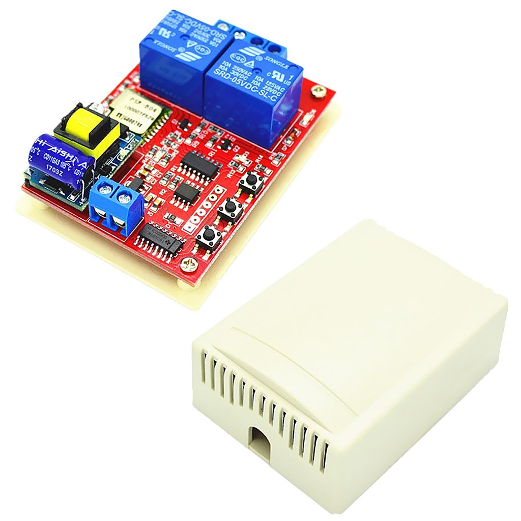 Jili Online 220V Two 2 Channel Relay Board Module Shield Wifi for LED Lights, TV, Motors