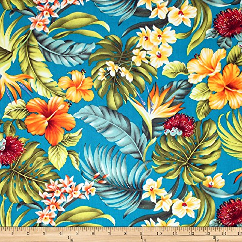 (Trans-Pacific Textiles Tropical Hawaiian Rainforest Teal Fabric by The Yard)