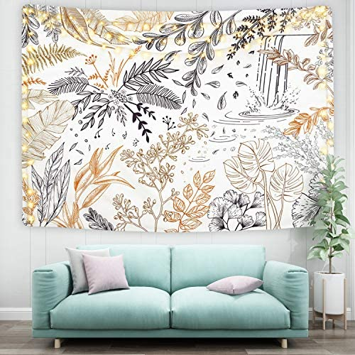 Leaf Tapestry Plant Tapestry Botanical Leaves Tapestry Herbs Wild Flower Tapestries for Room 59.1 x 82.7 inches