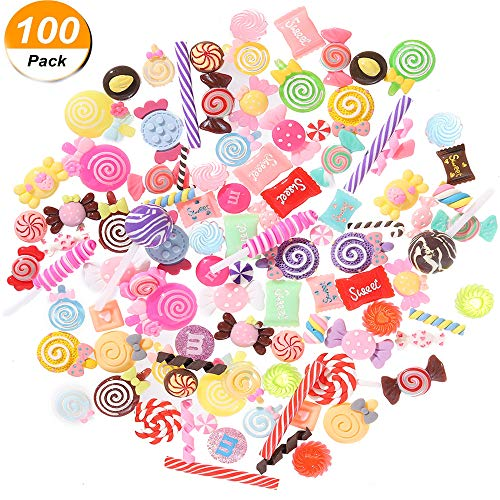 100 Pieces Super Cute Slime Charms Mixed Candy Sweets Resin Flatback Slime Beads Making Supplies for DIY Scrapbooking Crafts, Assorted Colors and Shapes -