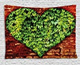 Ambesonne Love Tapestry, Heart Shaped Curve on Brick Wall with Full of Leaves Valentines Romance Print, Wall Hanging for Bedroom Living Room Dorm, 80WX60L inches, Red Lime Green