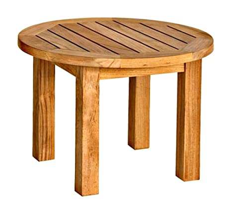 Amazoncom Round Top Low Teak Outdoor End Table Kitchen Dining - Teak outdoor end table