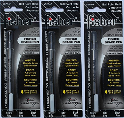 Fisher SPR4F Space Pen Ink Fine Point Refill, Black, 3 (Point Black Ink Refill)