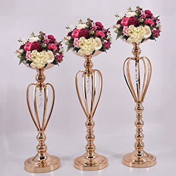 Candle Holders Home Decor Gold Candle Holders Flower Vase Candlestick Wedding Decoration Table Centerpiece Flower Rack Road Lead Home Decoration