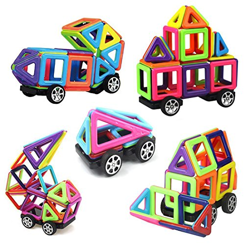 Price comparison product image 76 Piece Magnetic Building Blocks Kit,  Mini Magnet Tiles Set,  with Instraction Booklet and Storage Bag