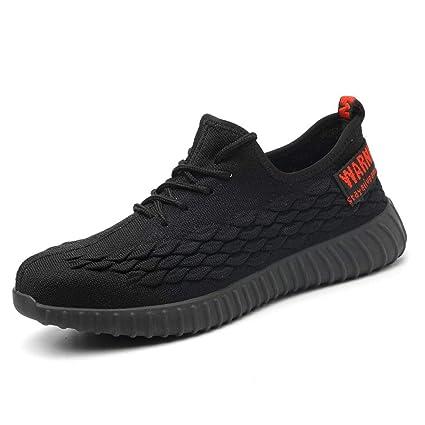 JIEFU Calzado de Seguridad para Hombre Mujer Zapatillas de Seguridad con Punta de Acero Calzado de Trabajo Antideslizante