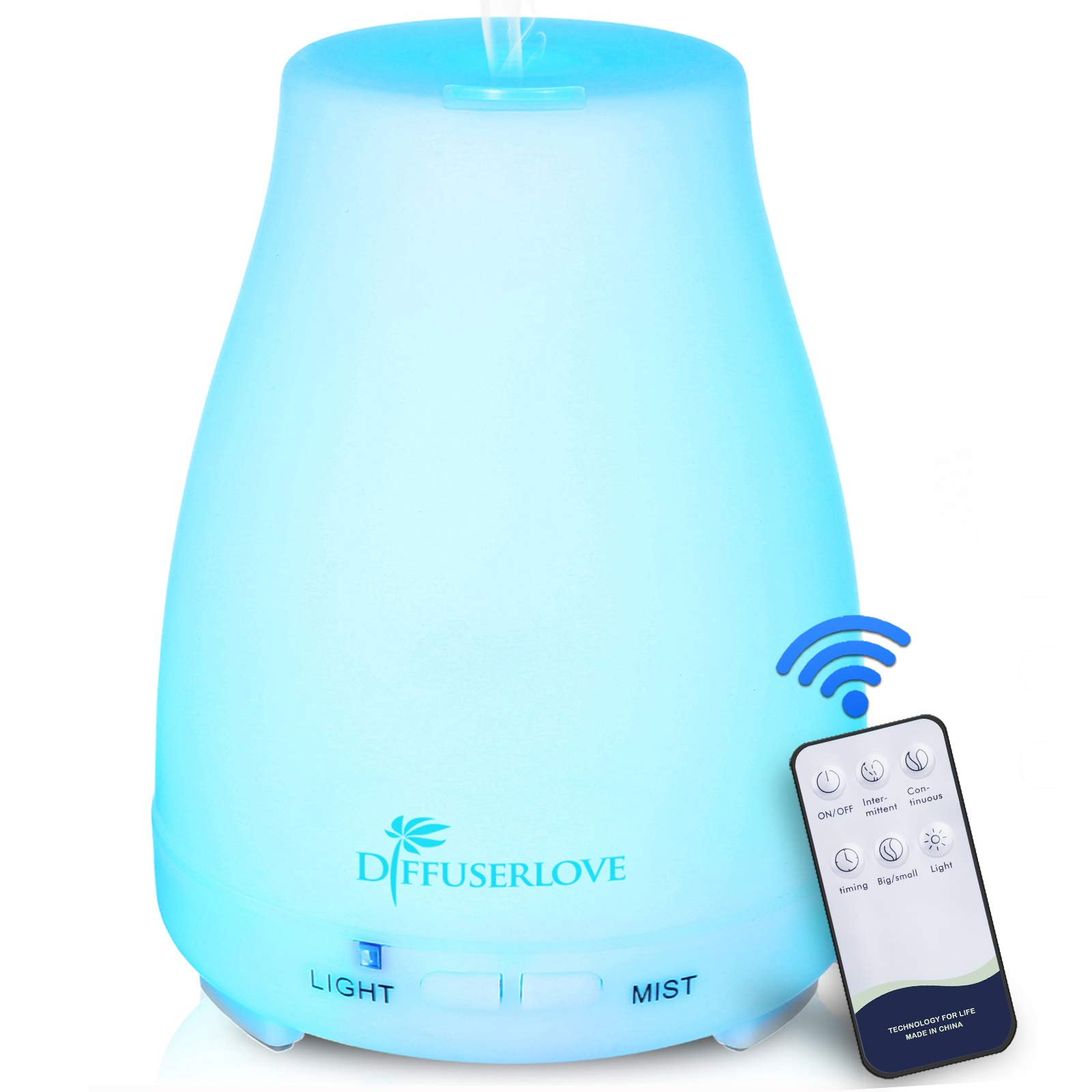 Diffuserlove Essential Oil Diffusers 200ML Remote Control Ultrasonic Mist Humidifiers BPA-Free Aromatherapy Diffuser with 7 Color Lights and Waterless Auto Shut-Off for Bedroom Office Kitchen