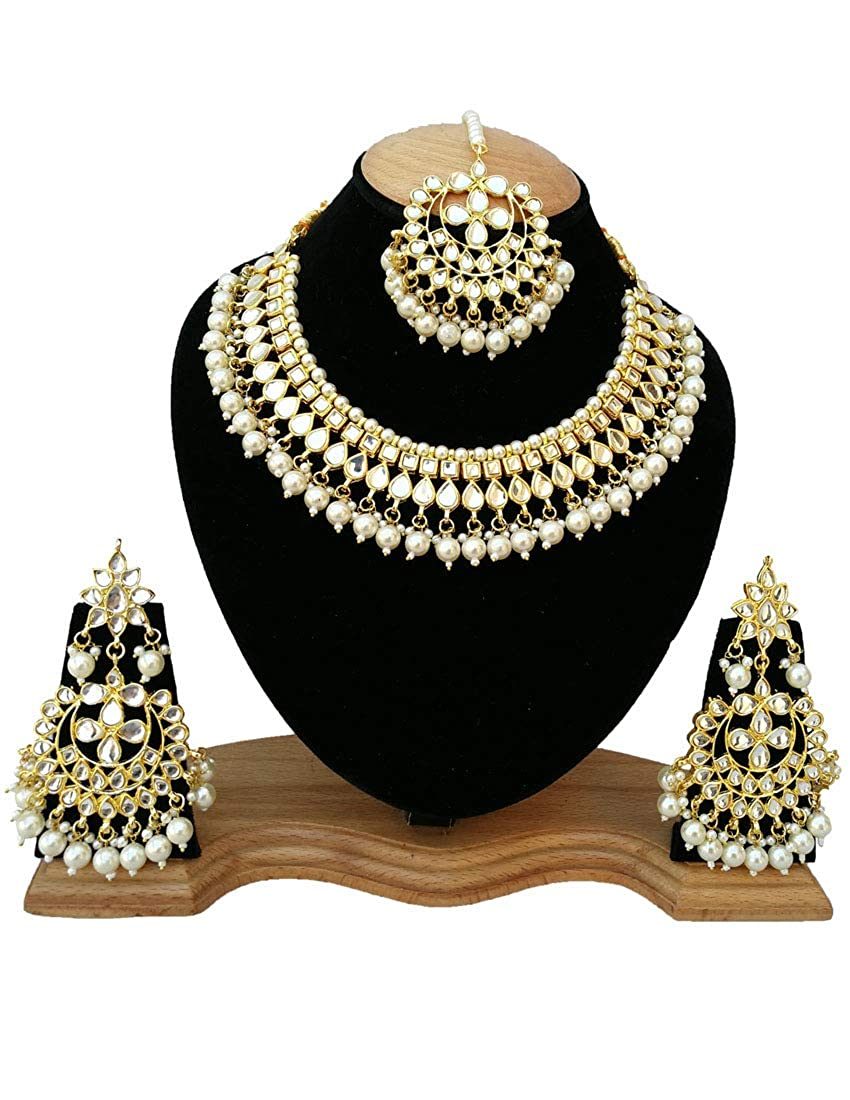 Fkraft Kundan Gold Plated Latest Wedding Necklace Jewelry Set for Women Self Handmade FMK-WHT039
