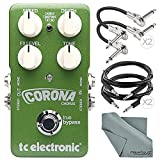 TC Electronic Corona Chorus Pedal with TonePrint and Accessory Bundle w/ Cables + Fibertique Cleaning Cloth