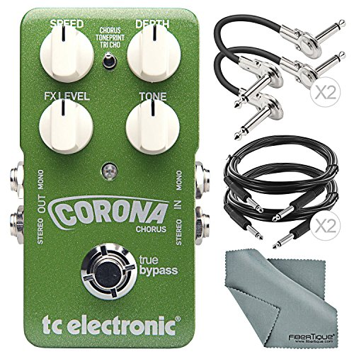 TC Electronic Corona Chorus Pedal with TonePrint and Accessory Bundle w/ Cables + Fibertique Cleaning Cloth by Photo Savings