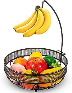 Auledio Fruit Basket Bowl with Banana Tree Hanger, Vegetables Storage Snacks holder Rack Bread Stand