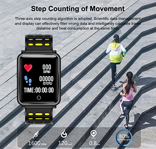 1.3'' TF2 HD Screen Sport Fitness Tracker with Blood Pressure Heart Rate Monitor IP68 Waterproof Pedometer Stopwatch Smartwatch for Kid Men Women Wristband Swim Run Travel Activity Tracker iOS Android by Symfury (Image #5)