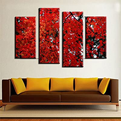 Link Line 4Pcs The Blood Red Maple Leaves Wall Art Picture For Living Room Home Decor Printed Landscape Oil Painting On Canvas Art Print
