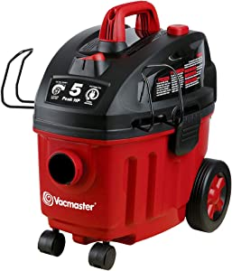 Vacmaster Shop Vac 5 Peak HP 4 Gallon Wet Dry Vacuum Cleaner with HEPA Filter 2-Stage Motor Auto Cord Rewind Powerful Suction for Household, Carpet, Vehicle, Car, Garage