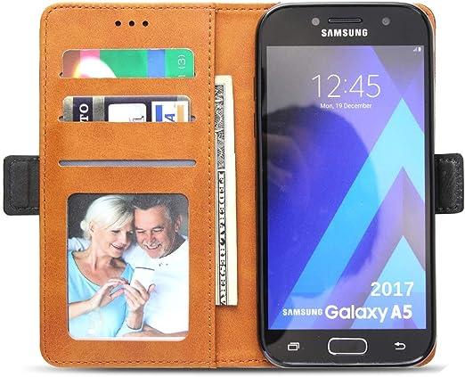 Bozon Étui portefeuille pour Samsung Galaxy A5 2017 en cuir avec support et emplacements pour cartes et fermeture magnétique Noir/gris