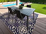 Brown Jordan Prime Label Patio Furniture Rug 9x9 Square Neptune Collection Sisal Modern Navy Outdoor Rugs, Blue