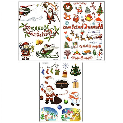 3pcs Merry Christmas tattoo stickers in 1 package,it