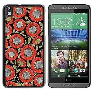 Be Good Phone Accessory // Dura Cáscara cubierta Protectora Caso Carcasa Funda de Protección para HTC DESIRE 816 // Pattern Fabric Orange Black