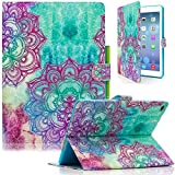 iPad Air 2 Case, iPad 6 Case, Dteck(TM) Cartoon Cute Flip Folio Stand Leather Case with Auto Sleep/ Wake Function Magnetic Closure Wallet Smart Cover for Apple iPad Air 2 (02 Ink Flowers)