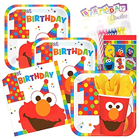 Sesame Street Elmo 1st Birthday Party Supplies Pack Serves 8 Plates Napkins Cups