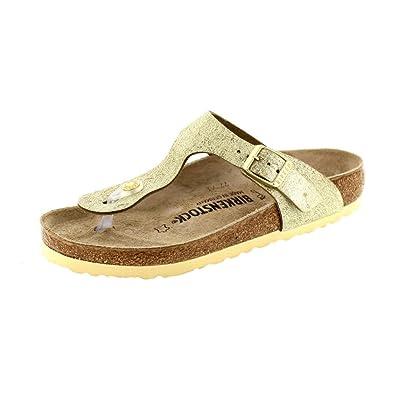 279ef40eaac Birkenstock - Gizeh 1008791 - Washed Metallic Cream Gold  Amazon.co ...