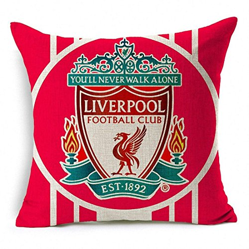(E-sunshine® Thick Cotton Blend Linen Square Throw Pillow Cover Decorative Cushion Case Pillow Case 18 X 18 Inches / 45 X 45 cm, New Football Club Badge (Liverpool))