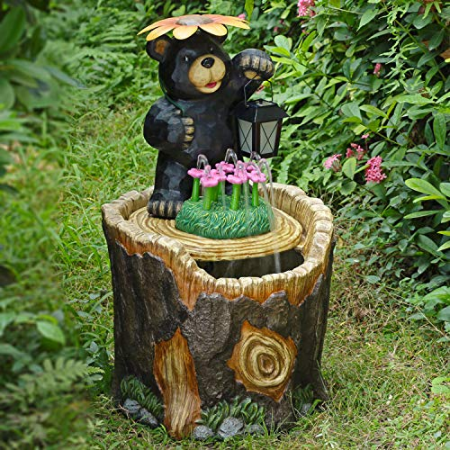 Durable,Lovely and So Adorable Mainstays Outdoor Bear Fountain,Bear with Flower Umbrella Holding Solar Lantern,Impressive Addition for Home,Patio and Garden ()