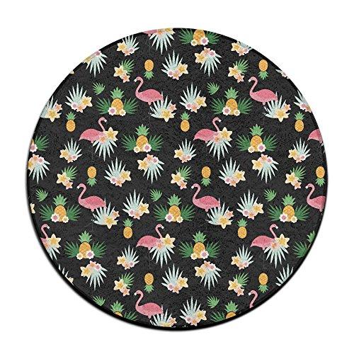 Flamingo Circle Shaggy Round Shape Carpet For Bedroom Living Room Rug / Door Mat / Anti-slip