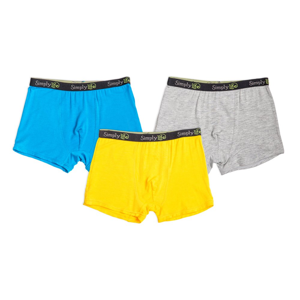 Simply Life Boys Bamboo Viscose Underwear 3Pcs Boxers with Jacquard Elastic