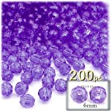 1,000pc Faceted Plastic Beads Round Transparent Faceted 6mm Dark Purple beads