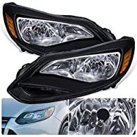 For Ford Focus Black Housing Clear Lens Amber Reflectors Headlight Head Light Lamp Upgrade Replacement Set