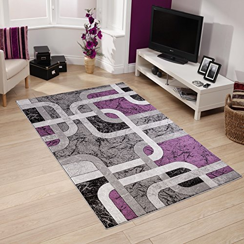 All New Modern Contemporary Squared Geometric Design Area Rug Empire Collection by Rug Deal Plus (5' x 7', Grey/Purple) (Rugs Collection Empire)