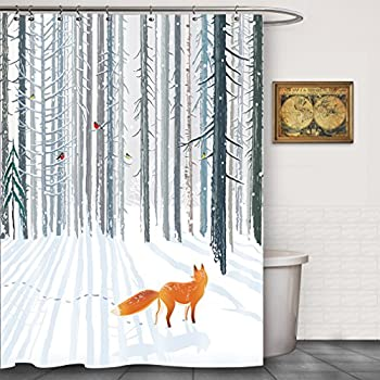 Amazon.com: FOOG Red Fox Snow Covered Forest Winter Season Cardinals ...
