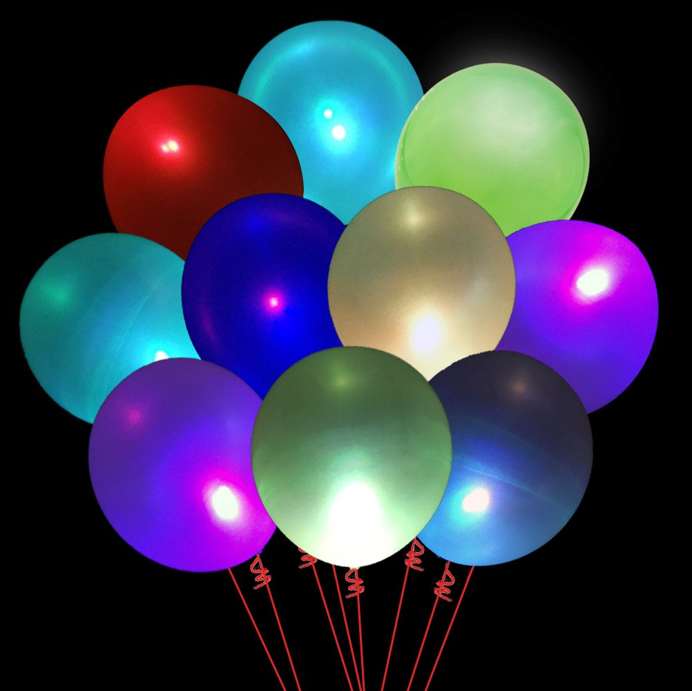 50 pack LED Light Up Balloons for Party Decorations, 12'' Assorted Colors Balloons Flashing Lights 7 Colors Changing Blink for Christmas Birthday Wedding Supplies