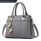 Womens Handbags and Purses Ladies Fashion Top Handle Satchel Tote PU Leather Shoulder Bags Crossbody Bag (Grey)