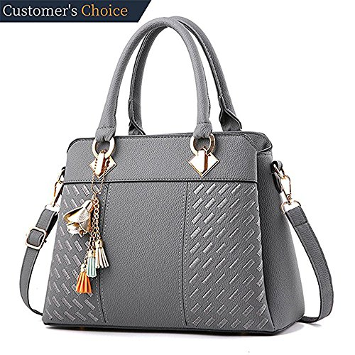 Womens Handbags and Purses Ladies Fashion Top Handle Satchel Tote PU Leather Shoulder Bags Crossbody Bag (Grey) by Fordicher