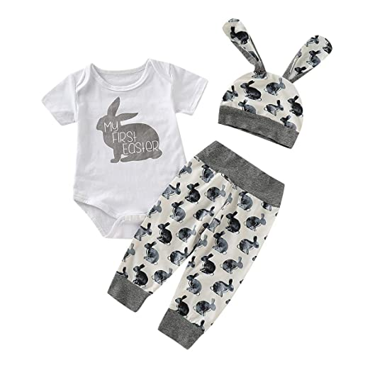 c68c94836 Amazon.com: Tronet Summer Outfits Set Newborn Baby Girl Boy Cartoon First  Easter 3D Bunny Outfits Romper Hat Pants Set: Clothing