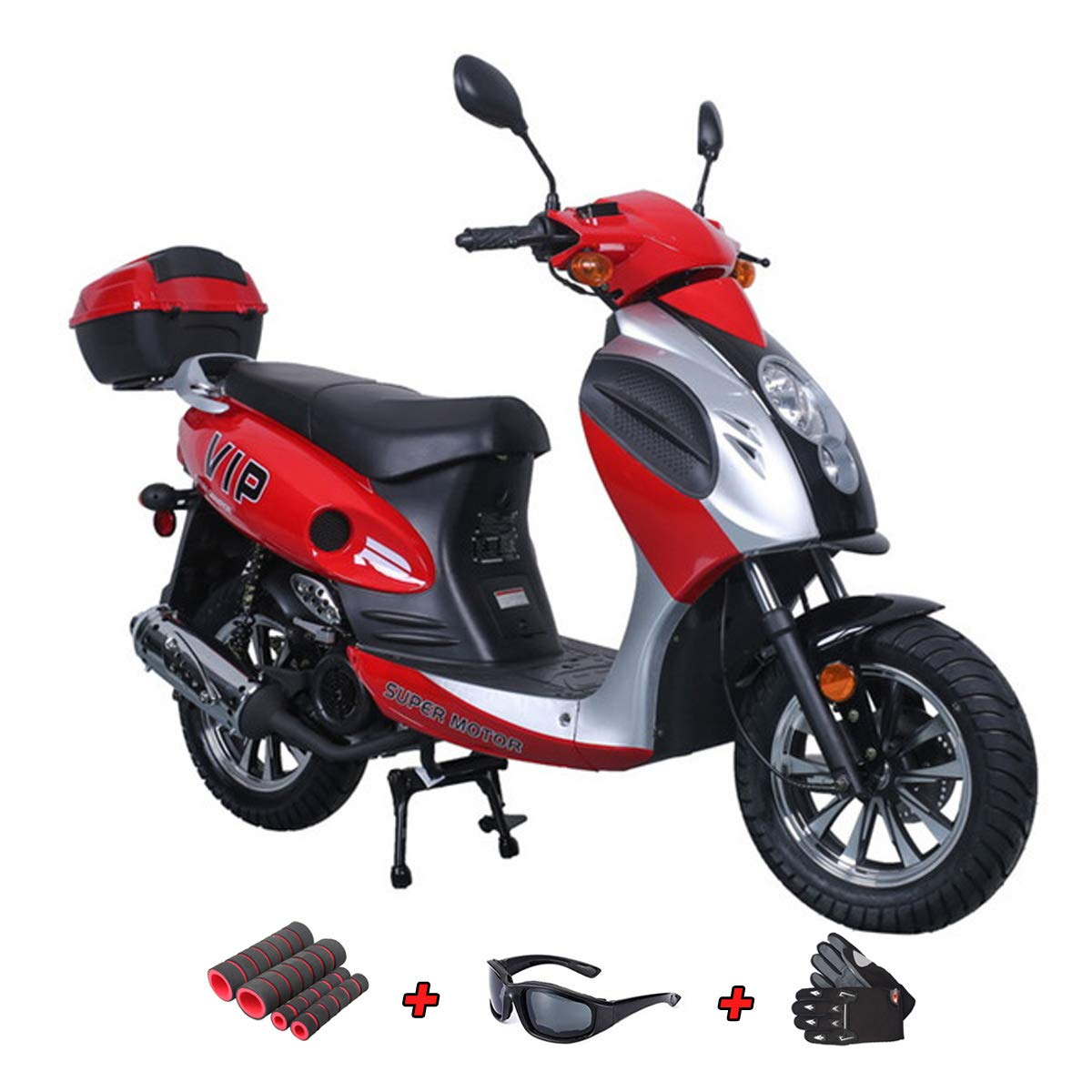 150cc Moped Scooter Motorcycle Scooter 150 Adult Scooter Gas Moped Scooter with Gloves, Sunglasses and Handgrip (Red) by X-Pro