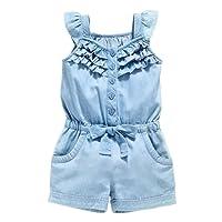 OWIKAR Baby Girls Rompers Lace Denim Vest Shorts Boat Neck Summer Dress For Age 1-6