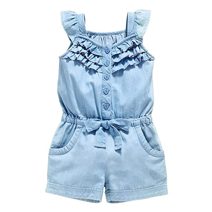 c1b8cd12891b Amazon.com  OWIKAR Baby Girls Rompers Lace Denim Vest Shorts Boat Neck  Summer Dress Age 1-6  Clothing
