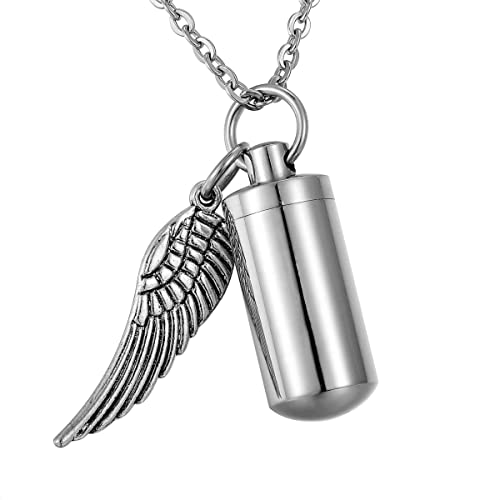 a8e825791c835 HooAMI Personalized Engraved Cremation Jewelry for Ashes Angel Wing Charm &  Cylinder Memorial Urn Necklace