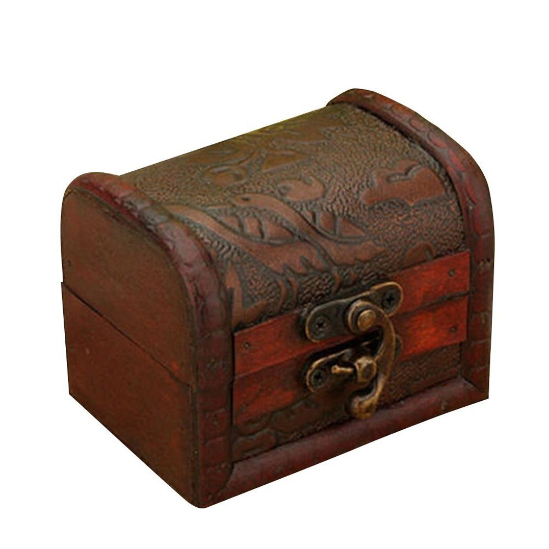 Polytree Vintage Embossed Jewelry Box Bronze Tone Organizer Wooden Case Holder