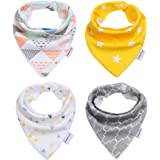 Storeofbaby 4 Pack 100% Cotton Baby Bandana Drool Bib for Boys and Girls Shower Gift Set , Super Absorbent