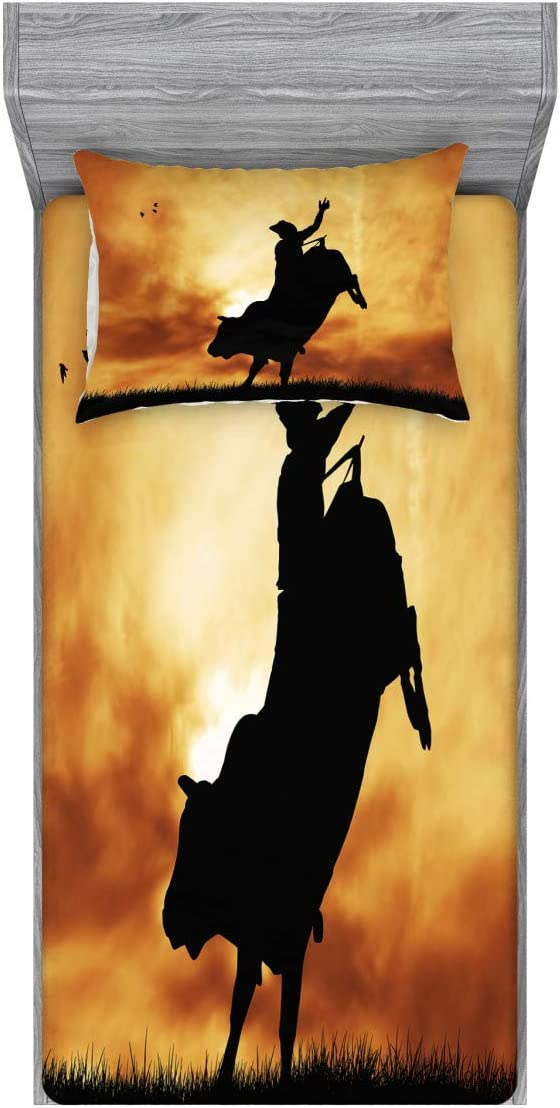 Lunarable Western Fitted Sheet & Pillow Sham Set, Bull Rider Silhouette at Sunset Dramatic Sky Rural Countryside Landscape Rodeo, Decorative Printed 2 Piece Bedding Decor Set, Twin, Amber Black