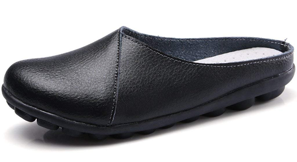 SNIDEL Women's Leather Loafers Slip on Flats Mule Walking Slippers Closed Toe Slide Sandals for Autumn Black9 B (M) US