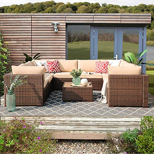 Patiorama 9 Piece Outdoor Patio Furniture Set, All Weather Wicker Patio Sectional Sofa Set with Corner Loveseat Sofa Chair Table, Beige (Sectional Piece Outdoor 9)