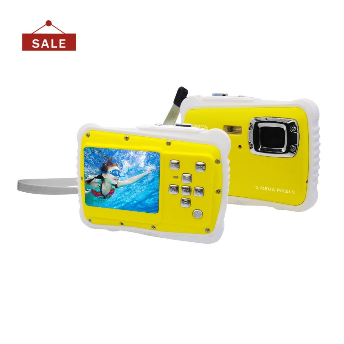 Underwater Action Digital Camera Camcorder for Kids, waterproof 3M/9.8ft, 12MP 1080p, Yellow