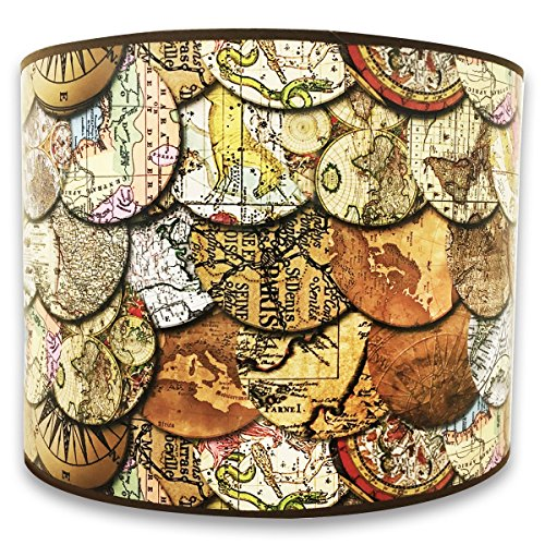 Royal Designs Modern Trendy Decorative Handmade Lamp Shade - Made in USA - Vintage Old World Maps Design - 10 x 10 x 8 (World Map Lamp Shade)