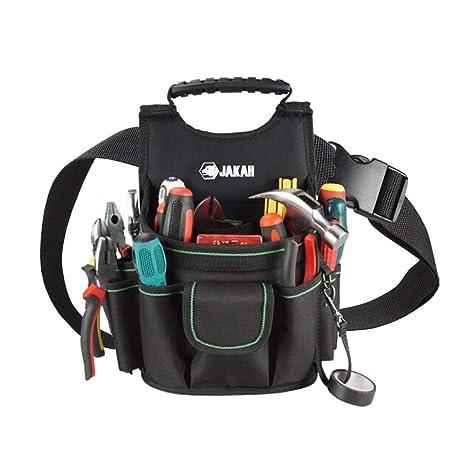 Baffect Bolsa de electricista, 20 bolsillos Cinturón de bolsa de herramientas de lona con cinturón de nylon ajustable Bolsa de herramientas de ...